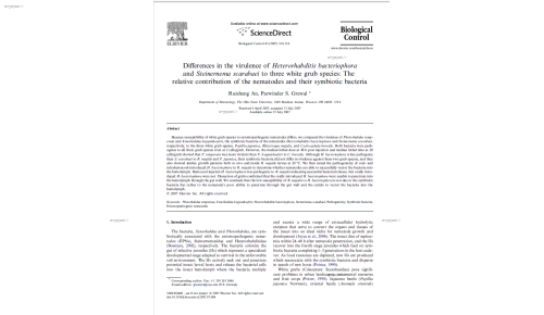 Differences in the virulence of Heterorhabditis bacteriophora and Steinernema scarabaei to three white grub species: The relative contribution of the nematodes and their symbiotic bacteria