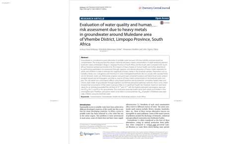 Evaluation of water quality and human risk assessment due to heavy metals in groundwater around Muledane area of Vhembe District, Limpopo Province, South Africa