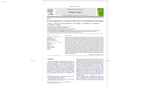 review of approaches to evaluate the effectiveness of weed biological control agents
