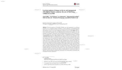 Local perceptions of changes in the use and management of floodplain fisheries commons: the case of Pak Peung wetland in Lao PDR