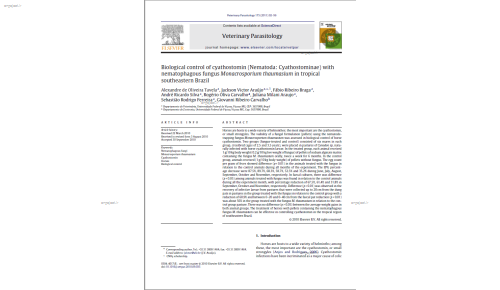 Biological control of cyathostomin (Nematoda: Cyathostominae) with nematophagous fungus Monacrosporium thaumasium in tropical southeastern Brazil