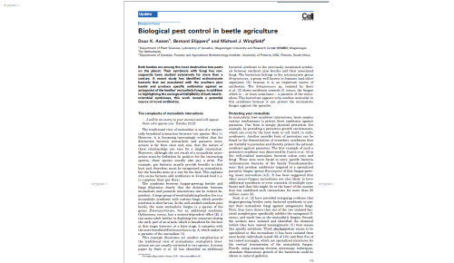 Biological pest control in beetle agriculture