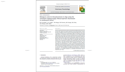 Biological control of Ancylostomosis in dogs using the nematode-trapping fungus Monacrosporium thaumasium in southeastern Brazil