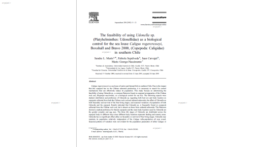 The feasibility of using Udonella sp. (Platyhelminthes: Udonellidae) as a biological control for the sea louse Caligus rogercresseyi, Boxshall and Bravo 2000, (Copepoda: Caligidae) in southern Chile