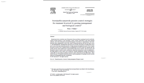 Sustainable nematode parasite control strategies for ruminant livestock by grazing management and biological control