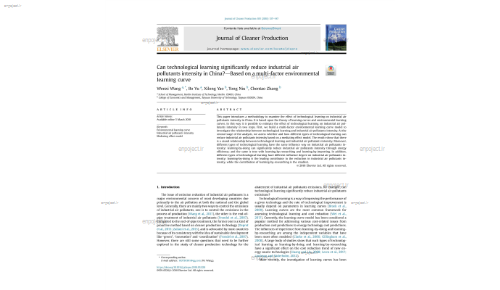 Can technological learning significantly reduce industrial air pollutants intensity in China?dBased on a multi-factor environmental learning curve