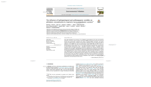 The influence of hydrogeological and anthropogenic variables on phthalate contamination in eogenetic karst groundwater systems*