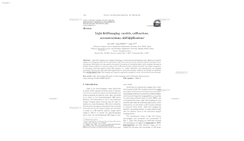 Light field imaging: models, calibrations, reconstructions, and applications